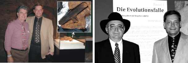 Dr. Carl Baugh und Hans-Joachim Zillmer vor dem bei der Ausstellung Ancient Mysteries erstmals in Europa präsentierten Hammer